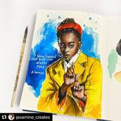 """#Repost @jesamine_creates with @make_repost ・・・ """"• THE RAY OF LIGHT •   The way she delivered it, her hand gestures, the clothes she's wearing aaah perfect!  The inauguration speech of @amandascgorman """"The Hill We Climb"""" 20 january 2021   Watercolor Artwork on sketchbook @kovalsketchbooks  © Artist: JVTotañes   #amandagorman #inauguration2021 #usa #biden #amandagormanart #fanart #amandagormanpoem #art #portrait #illustration #watercolor #sketchbook #sketchbookart #sketchbookartist #poetlaureate #inaguration #inagurationday #inaguration2021 #poetry #amandagorman #usa #president #speech #watercolorart #bethelight #bebrave #digitalillustration #prada #inspire #unite #femaleempowerment"""