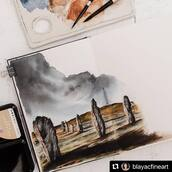 #Repost @blayacfineart with @make_repost ・・・ Resistance officially is ugly stages BFF in watercolor, you know what I mean? 🙃  Here's why : If you have been following my works for a while you'll know I'm not comfortable with sketchbooks and that this is new territory. Add perfectionism in the mix and you get the picture ☺️  I've been reading The War of Art by S. Pressfield about resistance to doing something. Very relevant with something out of your comfort zone...  So after procrastinating for a while here we are. The wet in wet sky left me mortified and the ugly stage that followed had me believe I'd never show you this piece 😅  But I pushed through for the sake of my sketchbook project and it came out pretty decent what do you think? I overworked the shadow a bit up front but well, we made progress in the sketchbook department!  Learn more about this place, the Callanish standing stones, in stories! And also, Happy Easter 🐣  I used @kovalsketchbooks and @artphilosophyco Decadent Pies set ➡️Use code BLAYACFINEART15% at checkout to save 15% on www.artphilosophy.com . . . . #artphilosophy #artphilosophywatercolor #primamarketinginc #watercolorconfections #artphilosophyba2021 #artphilosophydecadentpies #watercolours #illustrationdrawing #watercolor #watercolors #watercolouring #watercoloursketch #sketchbookpage #travelsketchbook #sketchbook #scottishhistory #beautifulscotland #highlandsofscotland #mysticalart #travelartist #scottishlandscape #historymatters #scotlandtrip #watercolorpainting #unlimitedscotland #outlanderfans #outlanderstarz #standingstone #callanishstones
