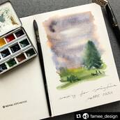 #Repost @famee_design with @make_repost ・・・ Ich warte sehnsüchtig auf den Frühling 👩🏼‍🎨 . . Granulierende #aquarelle Farben von @schmincke_official gekauft bei @gustavson_illustration im @kovalsketchbooks mit casaneo Pinsel von @davinci_artistbrushes_official . . . . . . . . . . . #watercolorlandscape #watercolor #watercolorpainting #watercolourpainting #watercolourlandscape #comeinandfindart #drawyourday #habimmerdeinemalsachendabei #kovalsketchbooks #painting #aquarelleart #illustration #doodle #landscapepainting #quicksketch #sketchbookpainting #sketching #urbansketchers #urbansketcher #watercolorsketch #watercolors #art #artist #kunst #malen #malerei #landschaftsmalerei #skizzenbuch