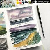 #Repost @famee_design with @make_repost ・・・ Oh wie sehr freue ich mich auf ein Wiedersehen @meerfischland #ahrenshoop 🌊💙. Hoffentlich. 🙏🏼  #watercolourlandscape . . @deepdeeplight_watercolors in @kovalsketchbooks with @davinci_artistbrushes_official . . . . . . . . . . #aquarellepainting #landscapepainting #aquarellelandscape #landscapeart #drawyourday #comeinandfindart #watercolourlandscape #watercolourpainting #paintings #paintingdaily #aquarelleart #illustrationartists #watercolorillustrations #urbansketchers #urbansketcher #sketchbook #sketchbookart #sketchbookpainting #malen #malerei #landschaftsmalerei #kunst #landsbergamlech #acuarela #aquarela #paintingdreams #watercolor_art #doodle