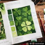 """#Repost @karolinakijak with @make_repost ・・・ Four-leaf clover. Some illustration from """"meadow"""" I have made at my sketchbook :) I Love using green shades  💚🍀☘️🍀  Czterolistna koniczyna, niektóre ilustracje do """"Łąki"""" powstały w szkicowniku. W końcu obserwowanie i malowanie przyrody to jeden z motywów gry :)  . 📖 @kovalsketchbooks 🎨 @danielsmithartistsmaterials  . #watercolors #watercolorart #watercolorist #watercolorpainting #watercolorsketch #watercolorsketchbook #meadowboardgame #meadowboardgameart #watercolorist #sketchbookart #sketchbookdrawing #sketchbook #artistsketchbook #natureart #naturejournal #naturejournaling #plantart #fourleafclovers #fourleafclover #botanicalart #botanikal #botanicalillustration #karolinakijak #przyrodapolska #łąkagraplanszowa"""