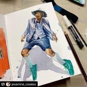 #Repost @jesamine_creates with @make_repost ・・・ D A N C I N G  @whats_in_da_house #whatsindahouse Lovkdown January Sketch Challenge  Materials: @kovalsketchbooks Saunders Waterford paper 300 gsm  Watercolor: @danielsmithartistsmaterials  Brush: @winsorandnewton Reference: Clem Onojeghuo  #sketchbookart #sketchbook #sketch #globalsketchers #watercolor #illustration #green #walking #sketchinaction #sketchbookdrawing #kovalsketchbooks #illustratedjournal #artistoninstagram #jesamine_creates #danceart #dance