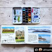 "#Repost @afrisartjourney with @make_repost ・・・ ✨ Playing with page composition in my plein air watercolor sketchbook ✨  After years of painting I just started to not have fear of wasting art supplies and even though I knew I am not actually wasting them, actually not having fear when doing so is a different story! 🙈  I think it is sad to have art supplies there unused waiting for you to ""paint better""🎨🖌 Different artists in this platform have already talked about this topic and I think it is a common problem in the art community  Do you struggle with your fancy art supplies??🤷🏽‍♀️🙆‍♀️🙇‍♀️  Sketchbook : @kovalsketchbooks   #pleinairpainting #watercolorpleinair #watercolorlandscapespleinair #aquarellepleinair #paysageaquarellepleinair #aquarellevuedulac #watercolorlakeview #paisajedemontañaenacuarela #paisajedelagoenacuarela #uskswitzerland #afris100daysofintuitivepainting"