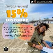 #Repost @jesamine_creates with @make_repost ・・・ TWO SPOTS LEFT!   We're giving you the inside scoop about something we think you'll love.   To all of FREEDOM OF SKETCH Workshop participants. You all get 15% discounts if you order your Koval sketchbook @kovalsketchbook.  Still planning to join? We still have 2 seats left! The workshop will be held outdoor and we will comply to RIVM Rules that apply indoors and outdoors at all time.   More info: please check the link on MY BIO  * Let op: genoemde locatie van de workshop kunnen wijzigen ivm Corona maatregelen en het weer. Voor actuele informatie: volg onze social media of neem contact op.
