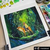 #Repost @meidakeet with @make_repost ・・・ 🍃✨I HAD SO MUCH FUN WITH THIS!!!! ✨ 🍃 thank you for coming to my ted talk! 😂 - (Watercolor, poster color after princess mononoke ♥️)